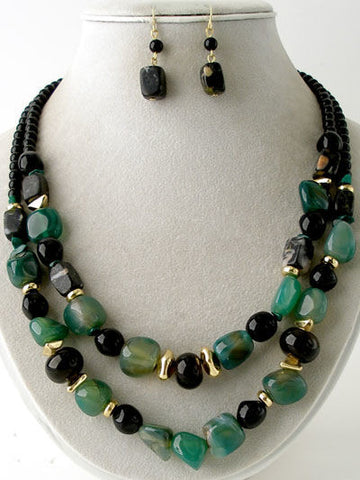 Double Strand Beaded Necklace Set