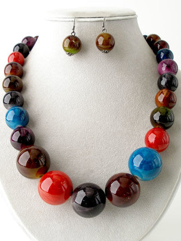 Chunky Multi-color Beaded Necklace Set