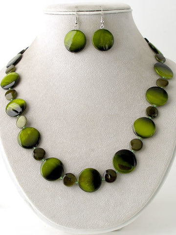Flat Shell Pellet Beaded Necklace Set