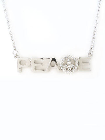 "The ""Peace "" Rhinestone Silver Necklace"