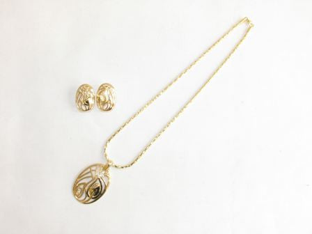 The Oval Shape Leaf Print Necklace Set