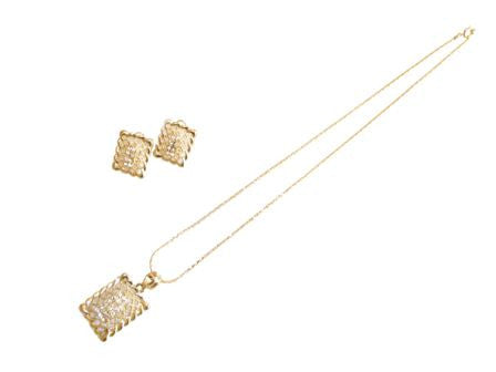 The Rectangle Interwoven Necklace Set