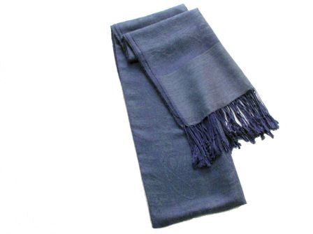 Silk and Pashmina Fringed Winter Scarf