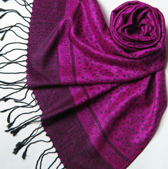 Silk and Pashmina Fringed Scarf