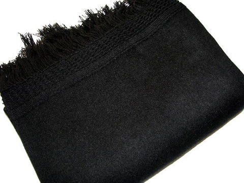 Black Fringed Wool Shawl
