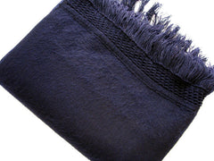 Navy Blue  Fringed Wool Shawl