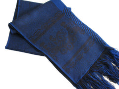 "The Men's Blue ""Darby"" Fringed Scarf"