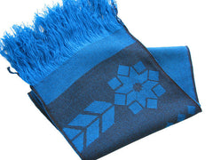 "The Men's Blue ""Everett"" Fringed Winter Scarf"