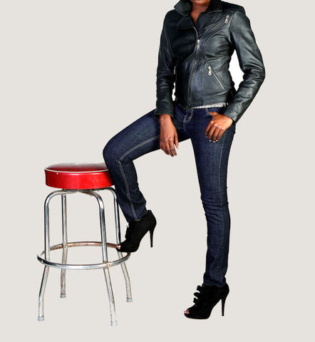 "The Black ""Emmanuelle"" Leather Motorcycle Jacket"