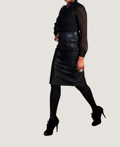 "The ""Leona"" Highwaisted Leather Pencil Skirt"