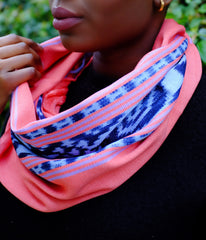 Hand woven and Hand dyed Pink Infinity Ikat Scarf