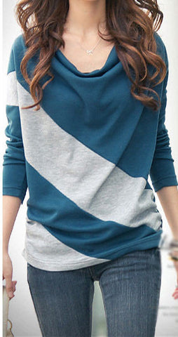Blue Longsleeve Striped Blouse