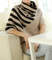 Striped Khaki Turtleneck Sweater