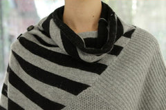 Striped Gray Turtleneck Sweater