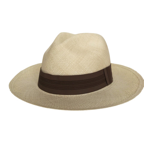 Handwoven Tan Panama Straw Hat