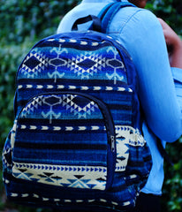 Handmade Blue Delaney Tribal Print Backpack