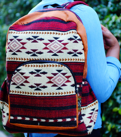 Handmade Burgundy Delaney Tribal Print Backpack