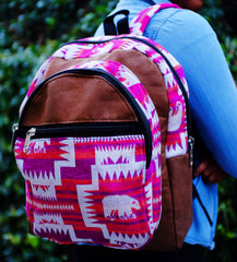 Handmade Pink Delaney Tribal Print Backpack
