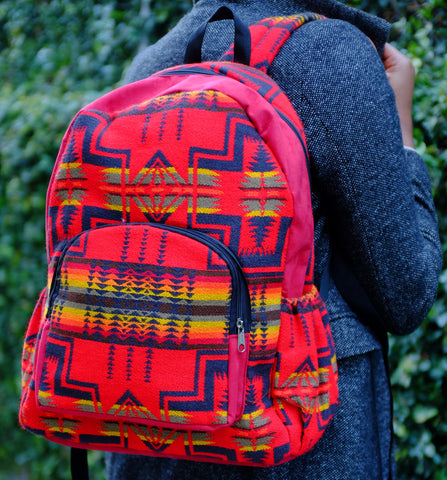 Handmade Red Delaney Tribal Print Backpack