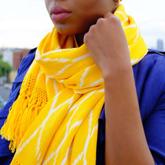 Hand woven and Hand dyed Yellow Ikat Scarf