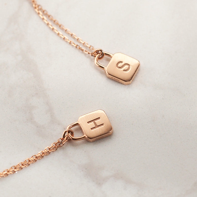 Unlock Initial Personalized Black Agate Necklace (Rose Gold)