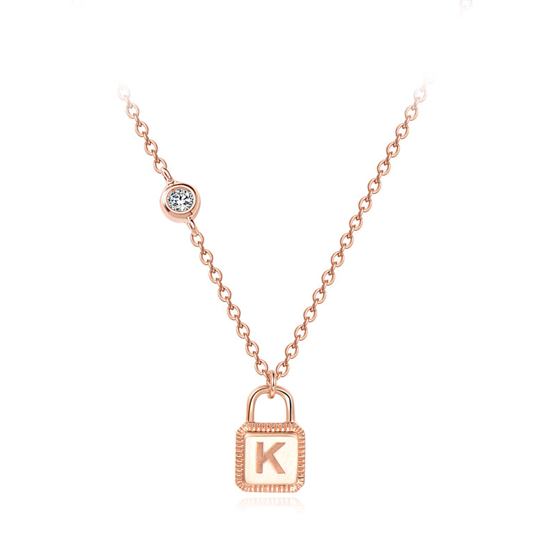 Unlock Initial Personalized Gold Necklace (Rose Gold)