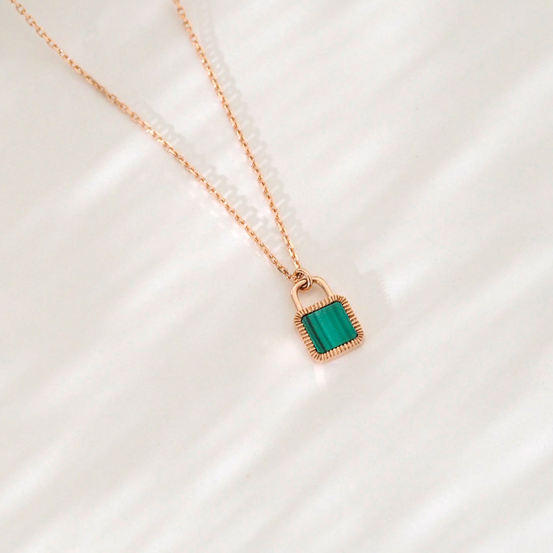 Unlock Initial Personalized Green Malachite Necklace (Rose Gold)