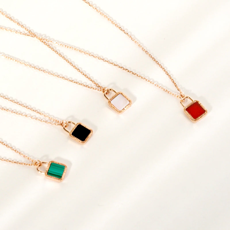 Unlock Initial Personalized Red Agate Necklace (Rose Gold)