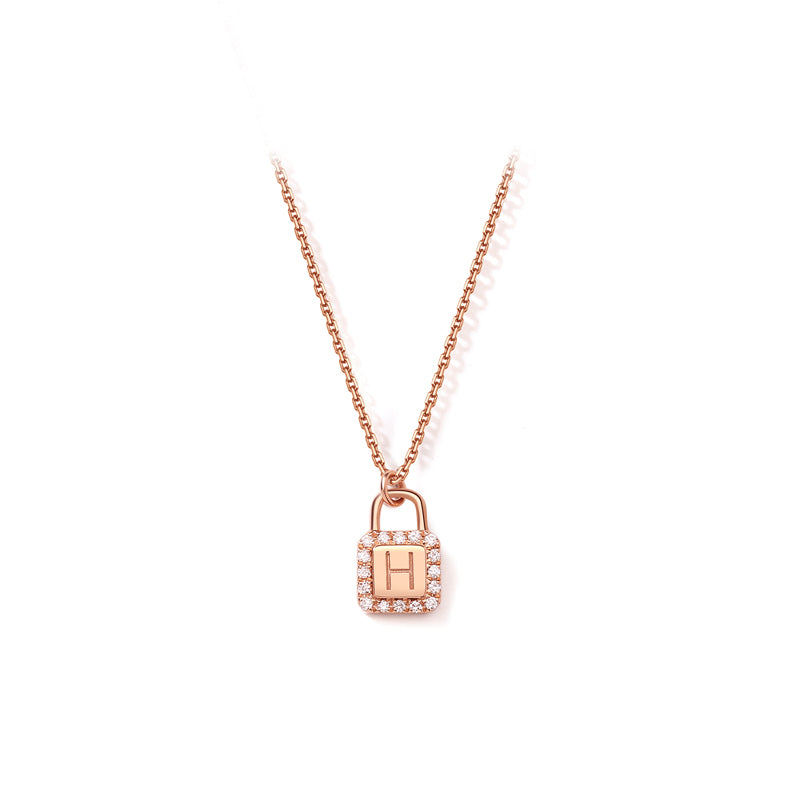 Unlock Initial Personalized Diamond Necklace (Rose Gold)