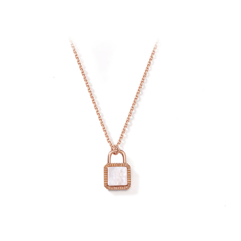 Unlock Initial Personalized Mother of Pearl Necklace (Rose Gold)
