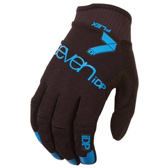7IDP FLEX GLOVE BLACK ELECTRIC BLUE SIZE M - Bike technics