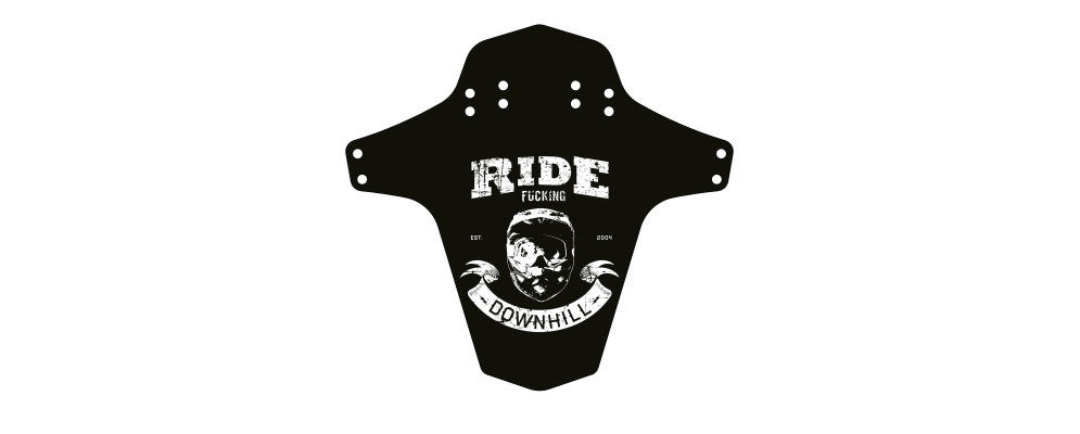 REVERSE MUD GUARD - RIDE FUCKING DOWNHILL BLACK/WHITE - Bike technics