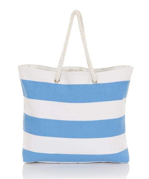 Nautical Blue And White Stripe Retro Beach Bag