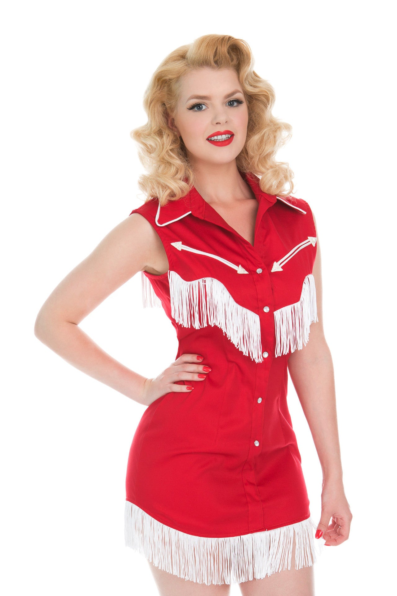 riley fringe dress in red and white for luna