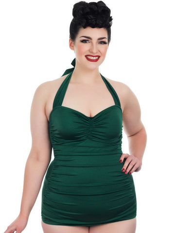 Plus Size Retro Swimsuit In Emerald Green