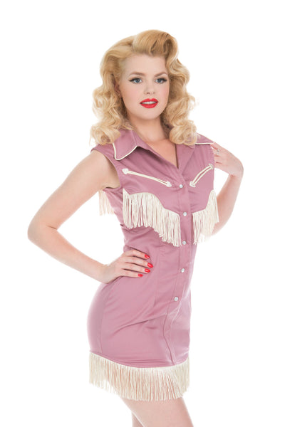 Riley Fringe Dress In Mauve and Ivory