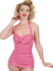 Cute Pink Gingham Retro Swimsuit By Esther Williams
