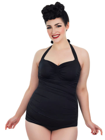 Plus Size Classic Black Retro Pinup Swimsuit