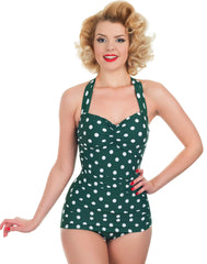 Retro Style Green and White Polka Dot Swimsuit By Esther Williams