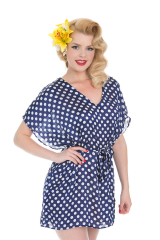 Blue And White Polka Dot Kaftan