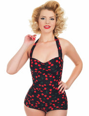Retro 1950s Style Black Cherry Print Esther Williams Swimsuit