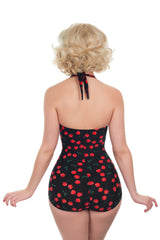 Retro 1950s Style Black Cherry Print Swimsuit
