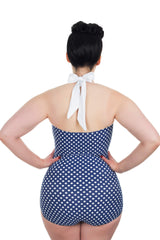 Blue And White Polka Dot Plus Size Retro Swimsuit