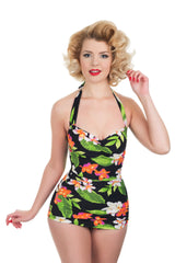 The Carmen -Exotic Flower Retro Swimsuit