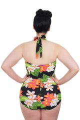 The Carmen - Exotic Flower Retro Plus Size Swimsuit