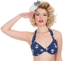 Sailor 1950s Anchor Print Bikini Top