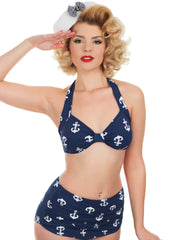1950s Style High Waisted Anchor Print Retro Bikini