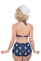 High Waist Anchor Print Retro Bikini Pant