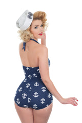 The Sailor Girl - Anchor Print Retro Swimsuit