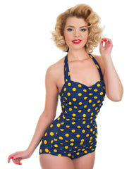 Esther Williams Navy And Yellow Polka Dot Retro Swimsuit